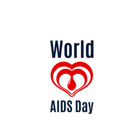 Heart and blood drop vector icon for AIDS day