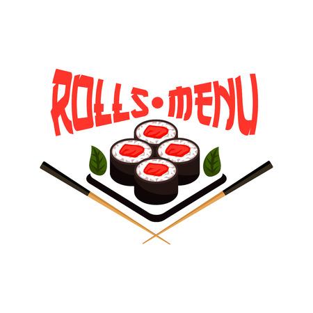 Icona del sushi di vettore del menu del ristorante giapponese Archivio Fotografico - 82150181