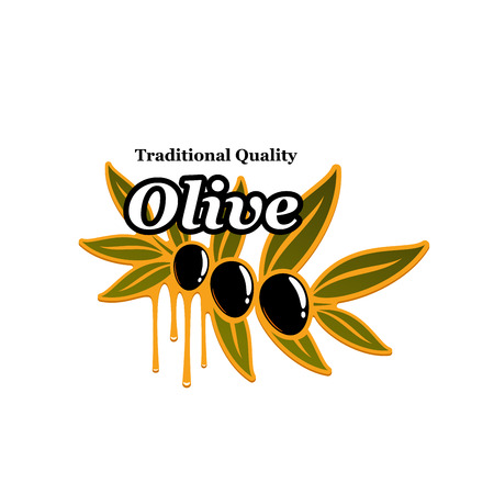 dressing: Olives branch vector icon for olive oil product