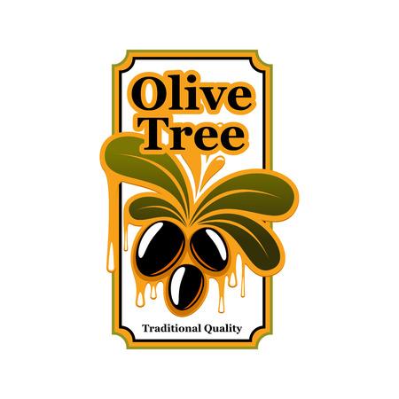 Black olives vector icon template for olive oil Çizim