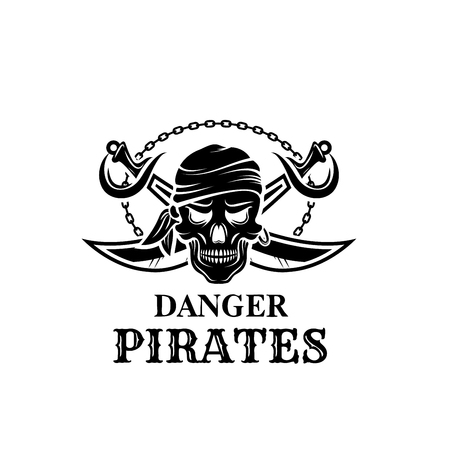 Vector pirate skull head icon for piracy flag