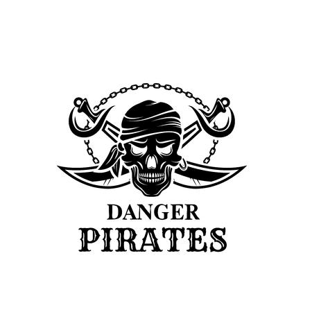 Vector piraat schedel hoofd pictogram voor piraterij vlag Stock Illustratie