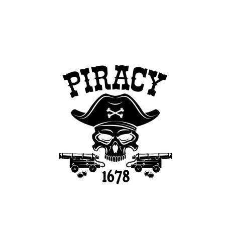 Pirate skull in hat vector icon for piracy flag