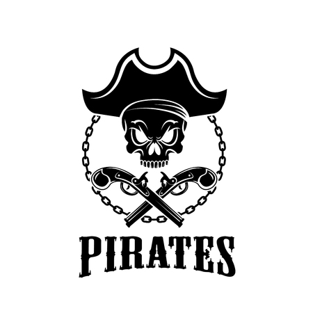 Pirate Jolly Roger vector icon for piracy flag Illustration