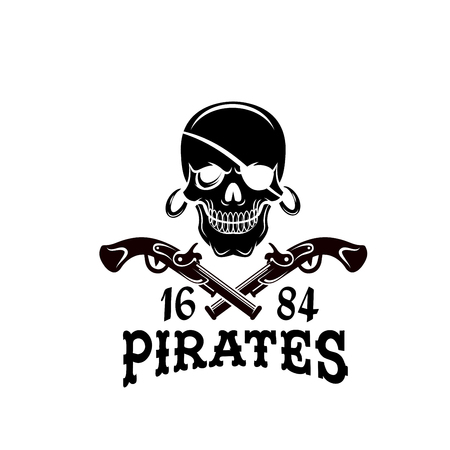 Jolly Roger pirate skull vector piracy flag icon