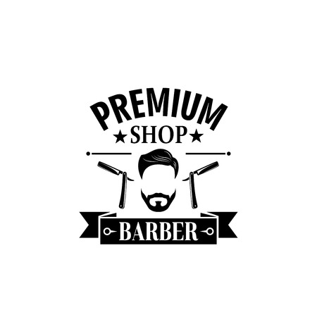 Premium barbershop salon vector mustaches icon Illustration