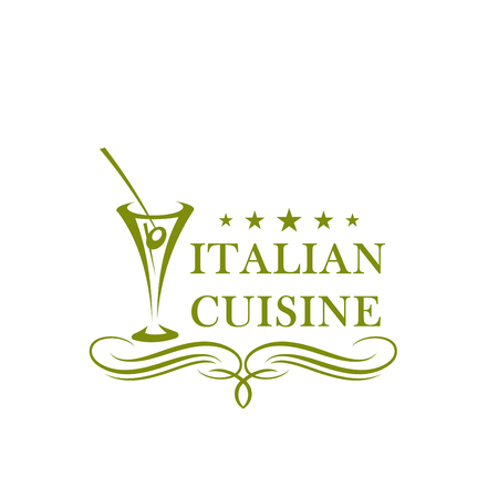 Olive in glass vector icon for Italian cuisine Illustration
