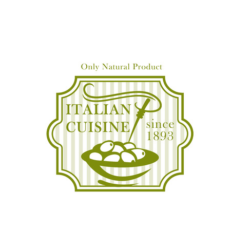 Olives plate vector icon for olive product package