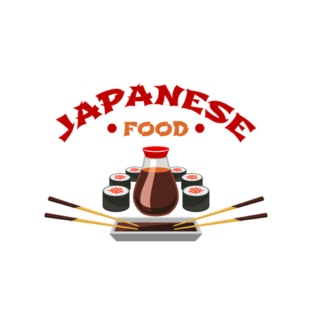Vector icon for Japanese sushi cuisine restaurant