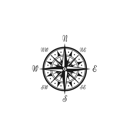 Compass wind rose vector marine nautical icon