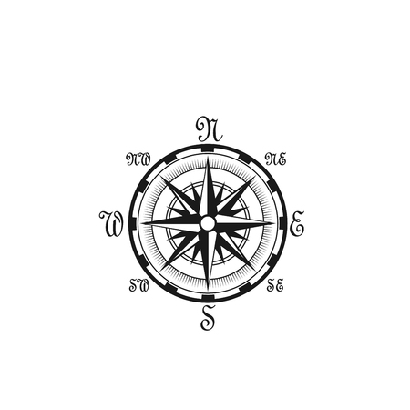Seafarer navigation compass vector nautical icon