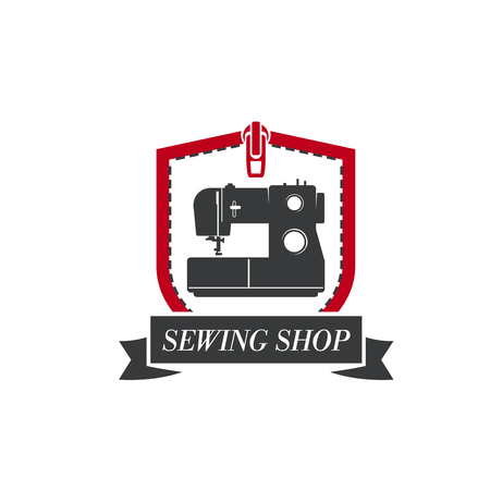 Sewing machine vector icon for tailor dressmaker