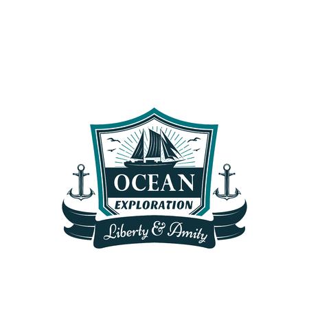 Vector nautical badge of frigate ship ocean waves