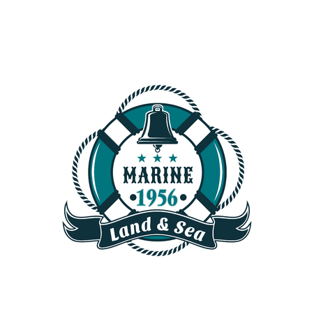 Marine life buoy vector badge for sea travel