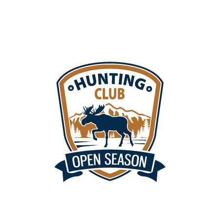 Open season animal vector icon for hunting club