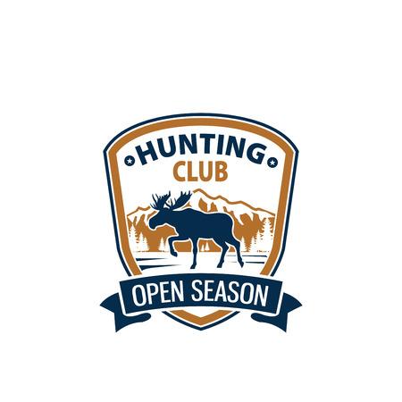 Open season animal vector icon for hunting club
