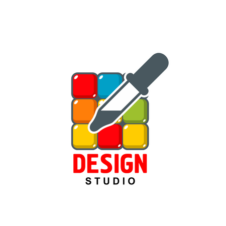 Vector design studio icon of dropper on color palette 向量圖像