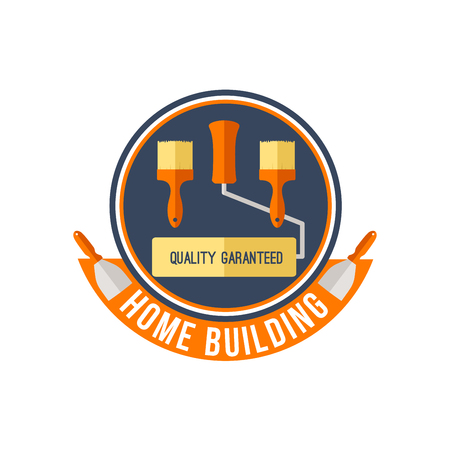 Home building or painting work tools vector icon