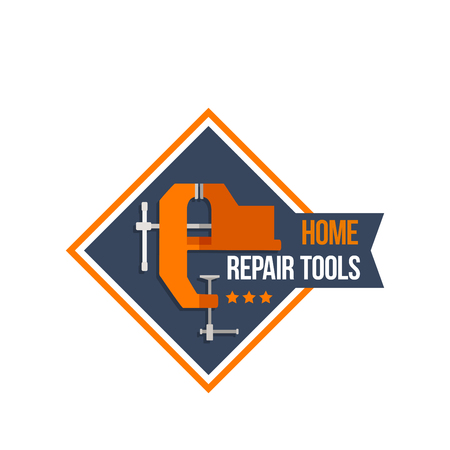vise: Work tools of home repair construction vector icon