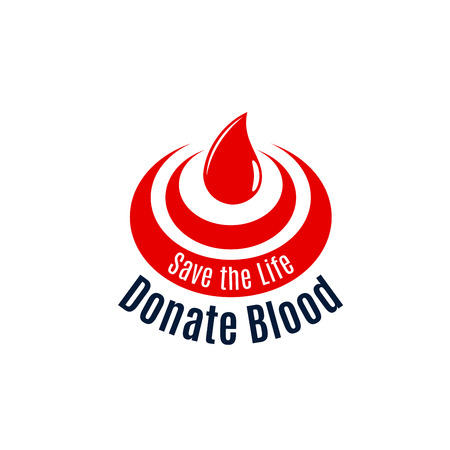 Blood drop vector icon for donor day Çizim