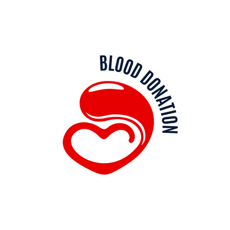 Blood donation vector icon of heart and drop