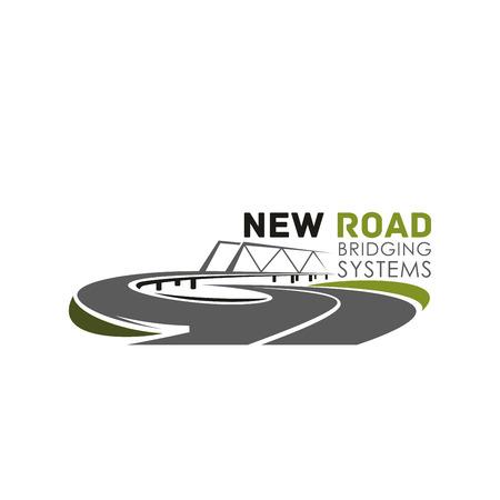 도로 다리 건설 시스템의 벡터 아이콘