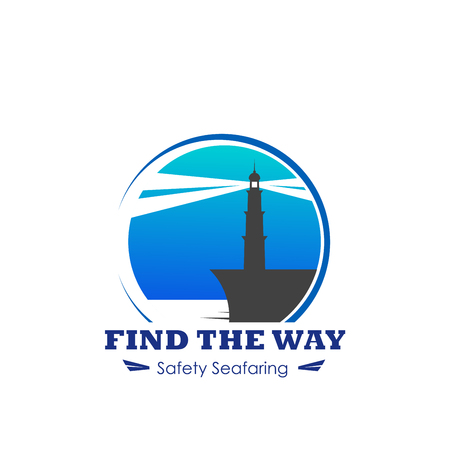 Vector icon of lighthouse for safety seafaring Illustration