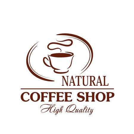 커피 컵 뜨거운 증기의 카페테리아 벡터 아이콘