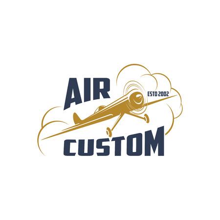 空気のカスタム ベクトル レトロ飛行機アイコン
