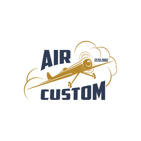 Vector retro airplane icon for air custom Illustration