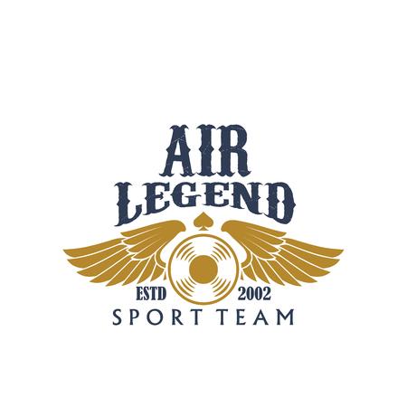 flight crew: Aviaton sport air legend vector propeller icon