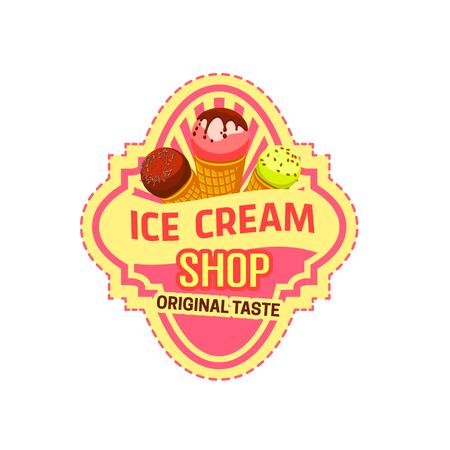Vector dessert icon for ice cream shop
