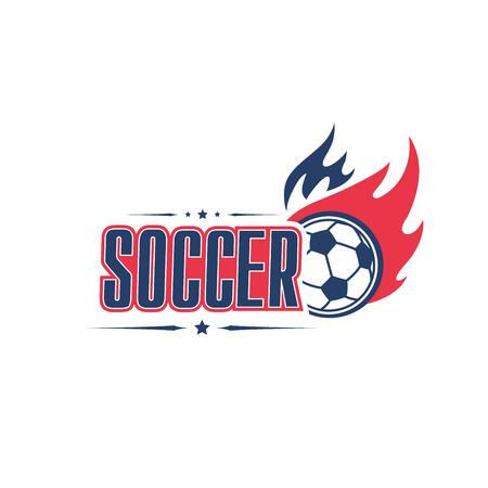 Soccer ball fire vector football team club icon Illustration
