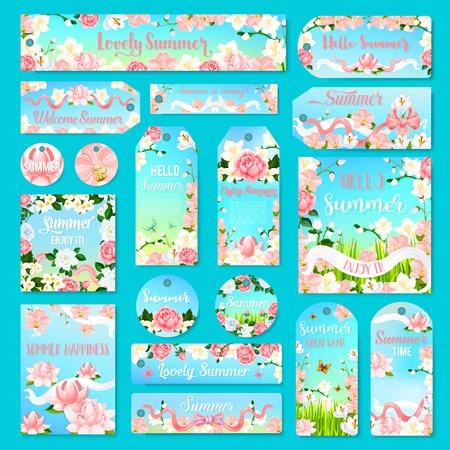 TIquette de fleurs de fleurs et étiquette avec bouquet d & # 39 ; été Banque d'images - 82105079