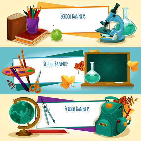 School supplies and stationery banners templates Vectores