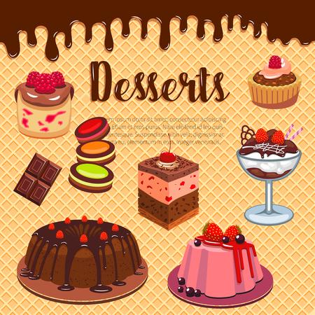 베이커리 숍이나 제과점 메뉴 디자인을위한 웨이퍼 포스터의 디저트와 케이크. 초콜릿 브라 우니 비스킷, 아이스크림 및 컵 케이크 또는 쿠키, 티라미 일러스트