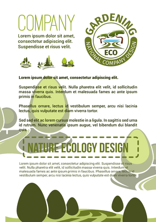 Gardening or landscaping company poster for urban horticulture and planting association. Vector design of green parks and nature landscape of eco village or woodland and parkland trees in forest