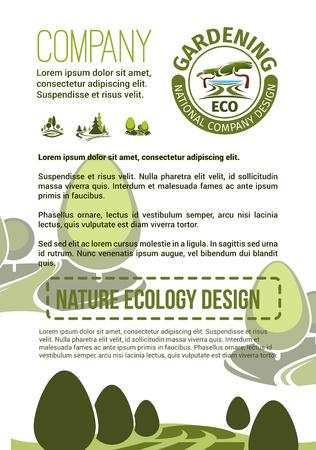Tuin- of landschapsbouwbedrijfsposter voor stadstuinbouw en aanplantingsassociatie. Vectorontwerp van groen parken en aardlandschap van ecodorp of bos en parklandbomen in bos Stock Illustratie