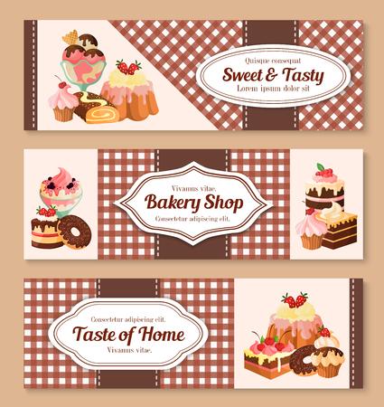 빵집 또는 과자가 게 배너 설정합니다. 수 제 달콤한 디저트와 초콜릿 케이크 또는 샬 롯 파이, 웨이퍼 tortes 및 과일 또는 베리 아이스크림, 티라미수  일러스트