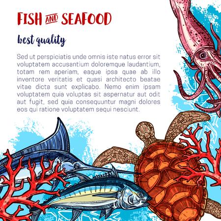 Affiche de fruits de mer frais pour le marché des poissons ou des fruits de mer ou un restaurant. Dessin vectoriel de la tortue de mer, du calmar ou de la crevette et du saumon, pêche de la plie, de la crevette ou de l'huître et du brochet ou du marlin avec du hareng Vecteurs