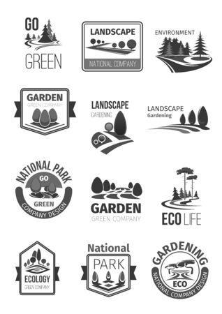 庭園や公園の景観デザイン ベクトルのアイコン