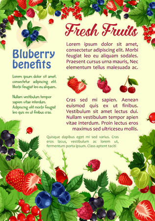 Fresh berries and fruits vector poster