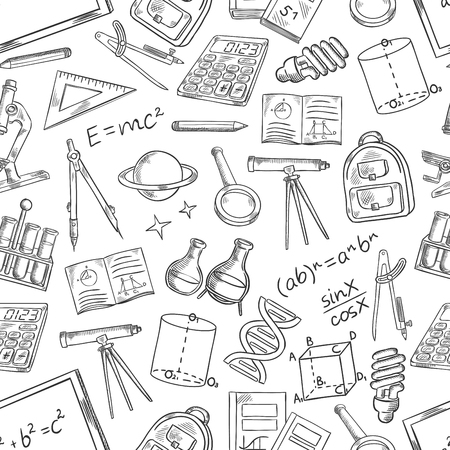 School science vector sketch seamless pattern