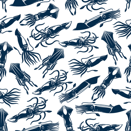 Squid seafood fishing vector seamless pattern