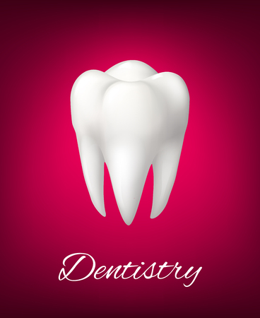 Vector 3D white tooth for dentistry poster Illustration