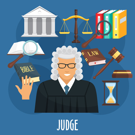 Vector poster of judge profession or advocacy Иллюстрация