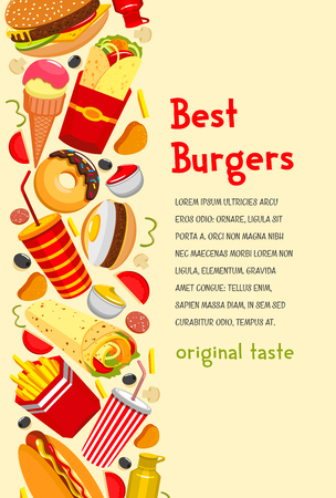 Fast food poster for burgers restaurant