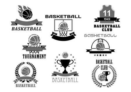 Basketball vector icons set for club championship