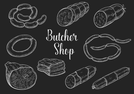 Butcher shop meat sausages sketch vector icons