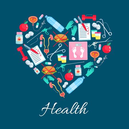 Heart poster of vector diet health medicines
